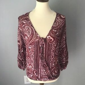 Charlotte Russe Tops - cross front paisley blouse